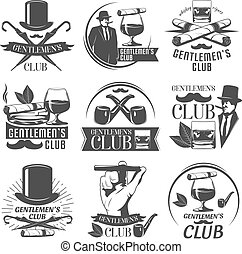 Gentlemen Club Label Set - Gentlemen club label set with...