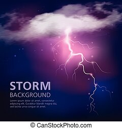 Electric Discharge In Sky Background