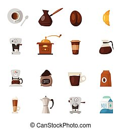 Barista Coffee Icon Set - Barista Coffee isolated icon set...