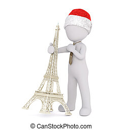 3d businessman in a tie tilting the Eiffel Tower