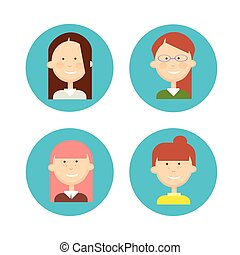 Business People Group Icon Set Woman Businesspeople Team