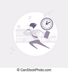 Business Man Run Busy Businessman Time Deadline Thin Line
