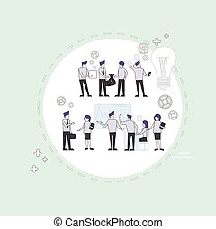 Business People Group Brainstorming Process Flip Chart...