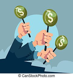 Hand Group Hold Green Money Business Funding Flat Vector...