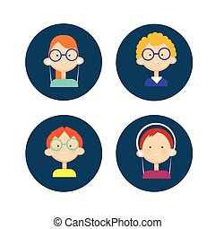 Young People Group Icon Set Teenager Children Avatar