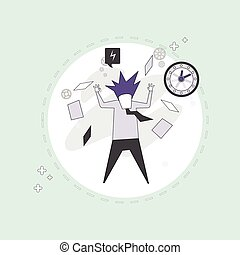Busy Business Man Multitasking Overworked Thin Line Vector...