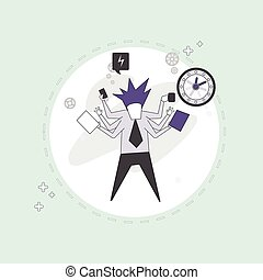 Busy Business Man Multitasking Overworked Thin Line