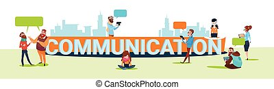 People Chat Digital Device Tablet Phone Laptop Social Network Communication