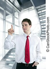 businessman touch finger copy space pad with hand