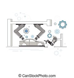 Manufacture Robots Industrial Automation Production Web Banner