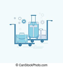 Luggage Departure Transportation Tourism Web Banner Vector...