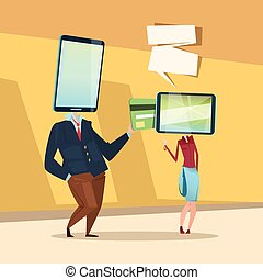 Woman And Man Cell Smart Phone Head Online Banking Payment...