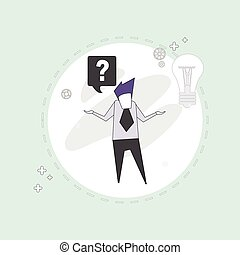 Business Man With Question Mark Pondering Problem Concept...