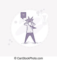 Business Man Hold Head Pondering Problem Concept Vector...