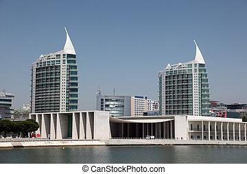 Residential towers over the Vasco da Gama shopping center in...