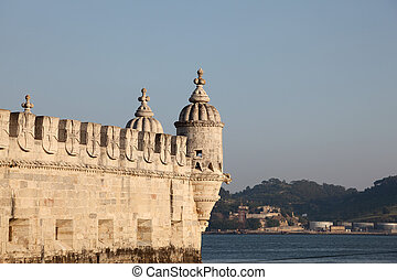 Famous fortress Torre de Belem (Belem tower) in Lisbon, Portugal