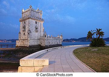 Belem Tower (Torre de Belem) at dusk. Lisbon, Portugal