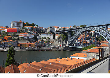 Porto and Dom Luis I bridge as seen from Vila Nova de Gaia,...