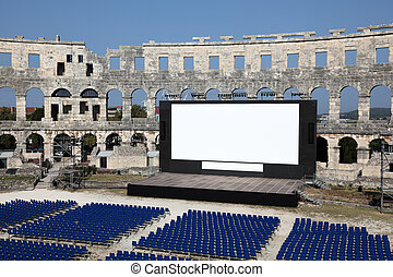 Open Air Cinema in the ancient Roman amphitheater (Arena) of Pula, Croatia