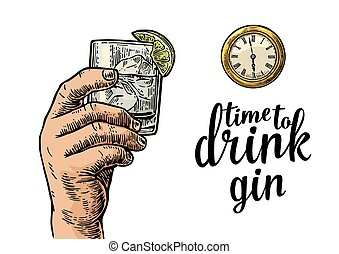 Male hand holding glass gin and antique pocket watch....