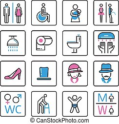 Toilet Icon- vector - Toilet icons vector lady and male room...