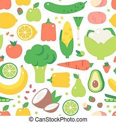 Vegetable seamless pattern garden background vector. -...