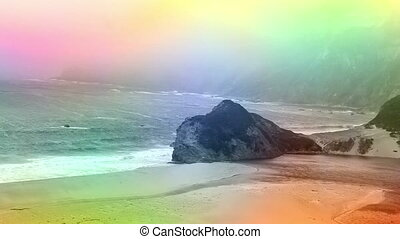 Color overlay Rocks and beach shore California - Animated...