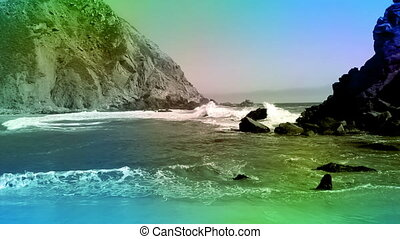 Color overlay California ocean beach rocks - America...