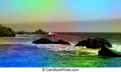 Animated color overlay beach and rock California - Landscape...