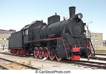 vapor, locomotora, al lado de, ferrocarril, estación,...