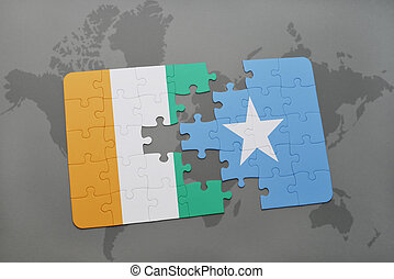 puzzle with the national flag of cote divoire and somalia on...