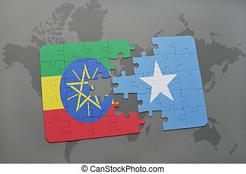 puzzle with the national flag of ethiopia and somalia on a...