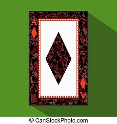 playing card. the icon picture is easy. DIAMONT ace about dark region boundary. a vector illustration on green background. application appointment for website, press, t-shirt, fabric, interior, registration, design.TO PLAY POKER