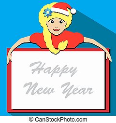 Blonde Santa girl cartoon character holding a list of white...