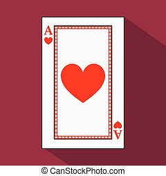 playing card. the icon picture is easy. HEART ace with white a basis substrate. vector illustration on red background. application appointment for website, press, t-shirt, fabric, interior, registration, design.TO PLAY POKER