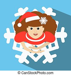 the girl Mrs. Santa Claus in a red cap with  snowflake in  hair. the top view, looks up.  skirt in  look  . Dance, dances. On  blue background. To use for the press, design, t-shirts, the websites.