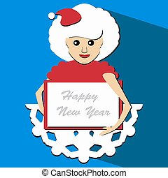Santa girl with a skirt origami paper in the form of snowflakes   white sheet   for writing text vector illustrator