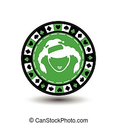 poker chip Christmas new year. Santa Claus girl green circle around the diamond, heart, club, spade Icon EPS 10 vector illustration on a white background to separate easily. Use for websites, design, decoration, printing, etc.