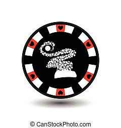 chip poker casino Christmas new year. In the middle of the hood snowflakes red feature Icon vector illustration EPS 10 on white easy to separate the background. use for sites, design, decoration, printing, etc.