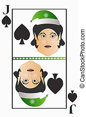 Vector elf simple easy Christmas Jack playing card suit spades on a white background editable detachable