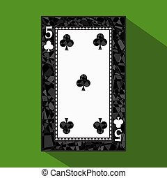 playing card. the icon picture is easy. CLUB FIVE 5 about dark region boundary. a vector illustration on green background. application appointment for website, press, t-shirt, fabric, interior, registration, design.
