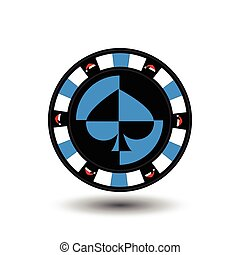 chip poker casino Christmas new year. the Hood around the red edge the blue thing in the middle of the shovel. Icon vector illustration EPS 10 on white easy to separate the background. use for sites, design, decoration, printing, etc.