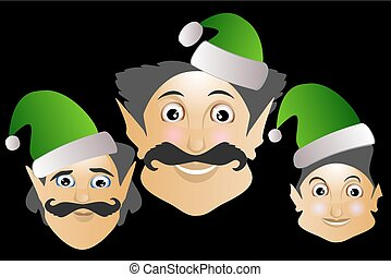 elf icon merry Christmas new year help on a black background 2017