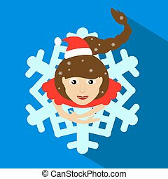 girl Santa Claus brunette. Christmas New Year s vector...