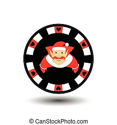 poker chip Christmas new year. Elf in the red cap the Icon EPS 10 vector illustration on a white background to separate easily. Use for websites, design, decoration, printing, etc.