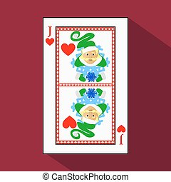 playing card. the icon picture is easy. HEART JACK JOKER NEW YEAR ELF. CHRISTMAS SUBJECT. with white a basis substrate. vector illustration on red background. application appointment for website, press, t-shirt, fabric, interior, registration, design.TO PLAY POKER