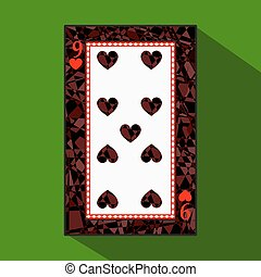 playing card. the icon picture is easy. HEART NINE 9 about dark region boundary. a vector illustration on green background. application appointment for website, press, t-shirt, fabric, interior, registration, design.
