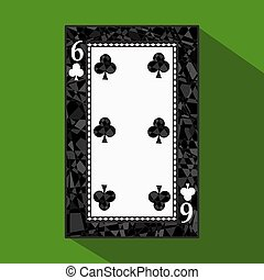 playing card. the icon picture is easy. CLUB SIX 6 about dark region boundary. a vector illustration on green background. application appointment for website, press, t-shirt, fabric, interior, registration, design.