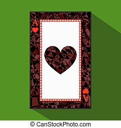 playing card. the icon picture is easy. HEART ace about dark region boundary. a vector illustration on green background. application appointment for website, press, t-shirt, fabric, interior, registration, design.