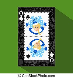 playing card. the icon picture is easy. CLUB QUEEN. NEW YEAR OF MISISS SANTA CLAUS GIRL. CHRISTMAS SUBJECT.about dark region boundary. a vector illustration on green background. application appointment for website, press, t-shirt, fabric, interior, registration, design.